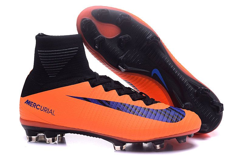 Nike Mercurial Superfly V FG Orange Black Men Flyknit Soccer Shoes