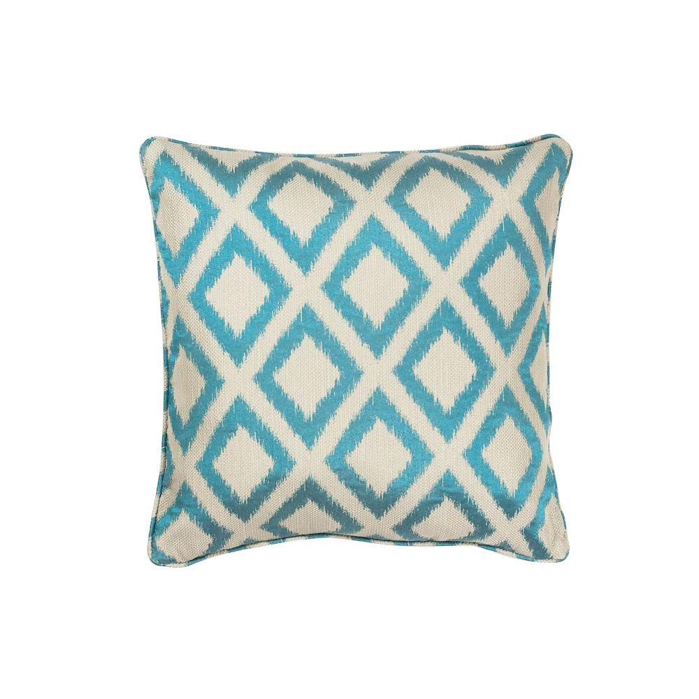 Kas Rugs Fresh Cool Turquoise Geometric Hypoallergenic Polyester 20 In X 20 In Throw Pillow Pill24220sq The Home Depot In 2020 Decorative Pillows Decorative Throw Pillows Throw Pillows