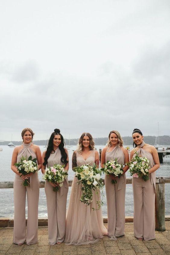 43 Stylish Bridesmaids Jumpsuits To Rock #bridesmaidjumpsuits Neutral Bridesmaid Jumpsuits #bridesmaidjumpsuits