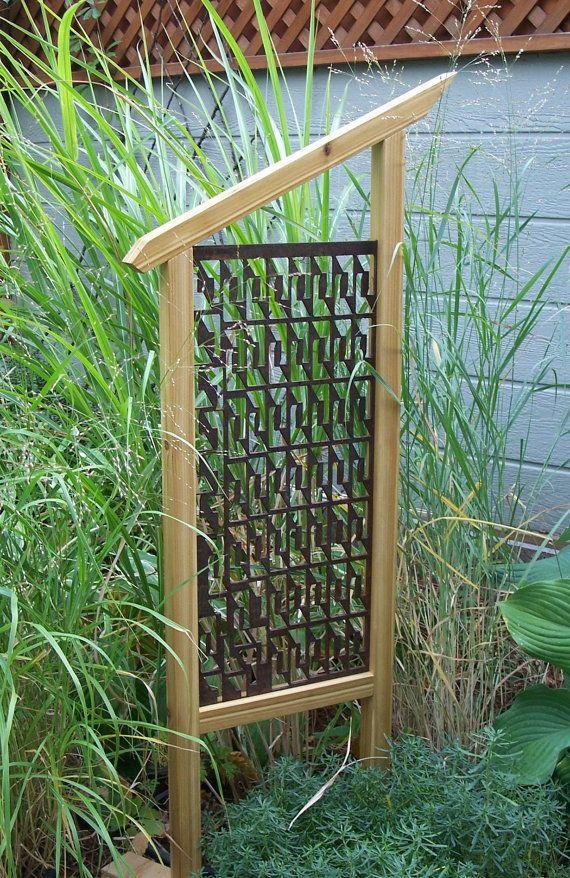 Captivating Garden Trellis, Unique Garden Decor, Garden Screen, Garden Art, Reclaimed  Steel And Cedar
