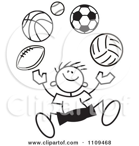 Clip Art Black And White Clipart Black And White Sticker Boy Juggling Balls Royalty Free
