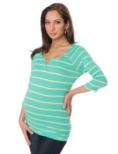 10d50975c1ecc 3/4 Sleeve Scoop Neck Striped Maternity T Shirt | Baby ...