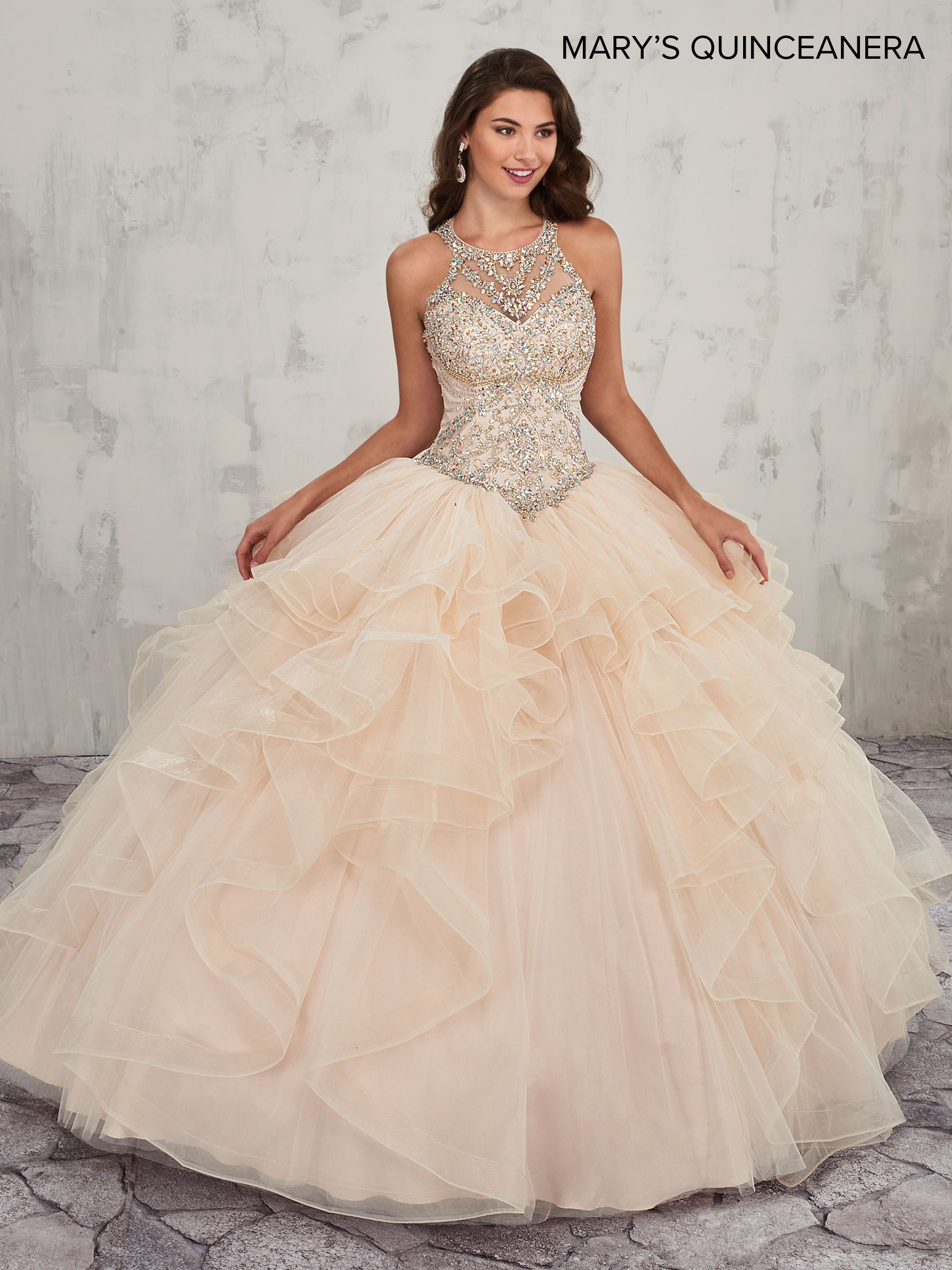 Ruffled Halter Quinceanera Dress By Mary S Bridal Mq2011 In 2021 Pretty Quinceanera Dresses Quincenera Dresses Quince Dresses [ 2400 x 1800 Pixel ]