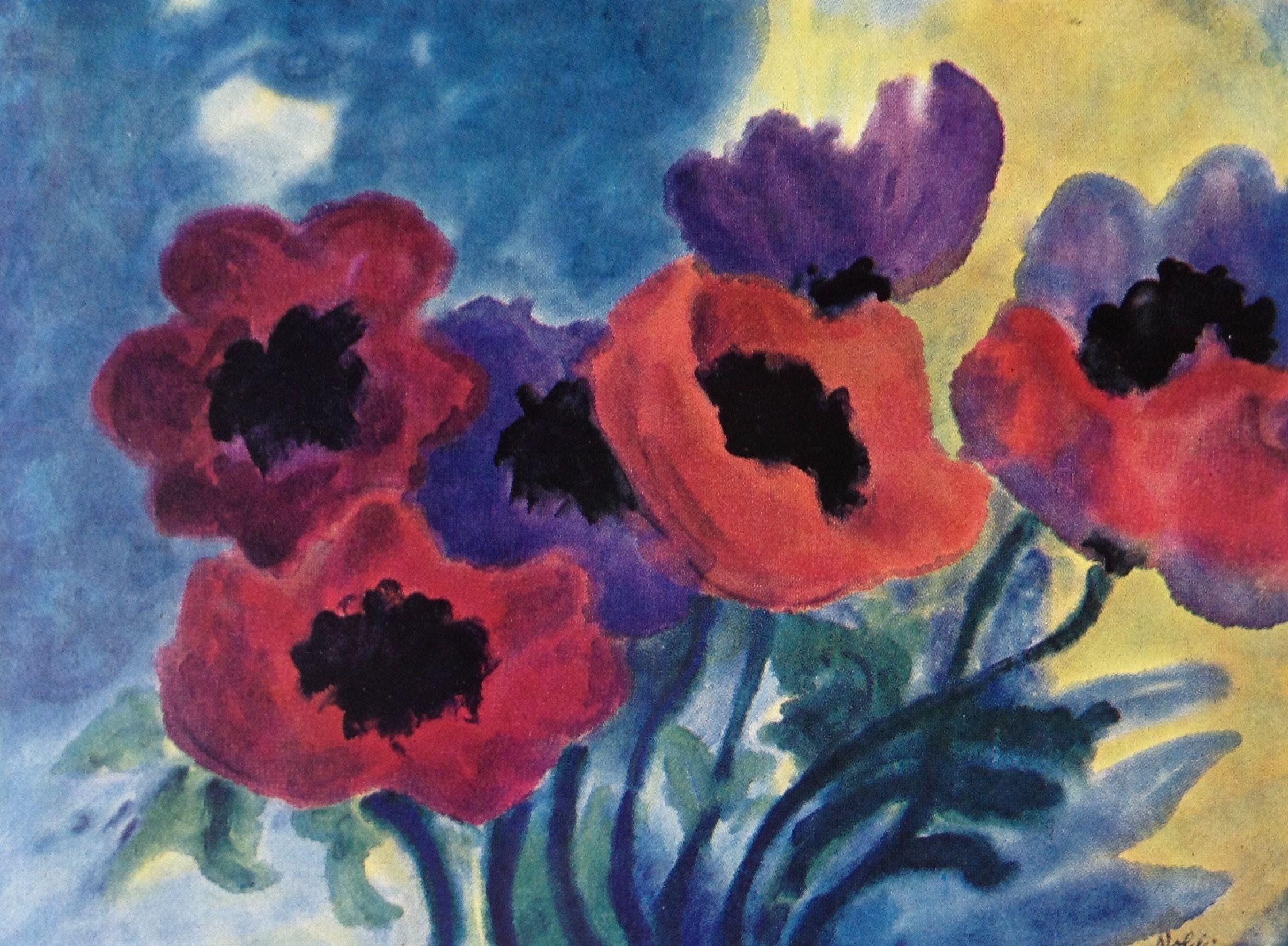 Emil Nolde Violette Und Rote Mohnblumen Emil Nolde Art Painting