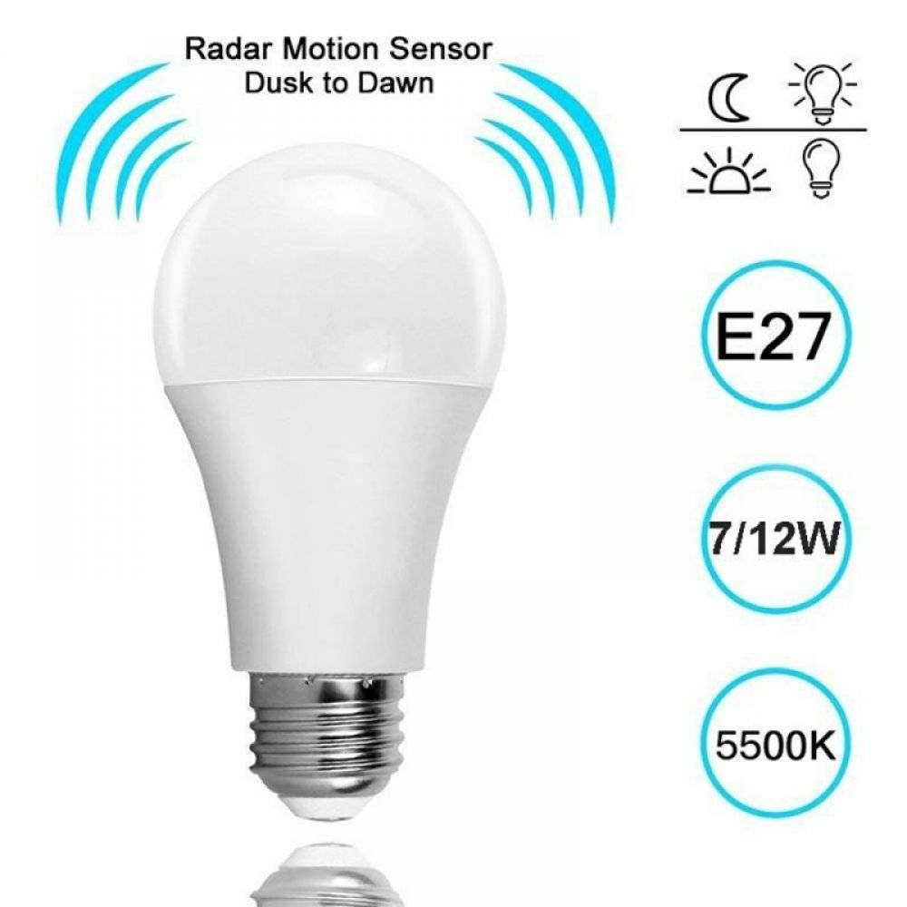 Sensor Radar De Ampolla Led E27 Bombilla 5w 7w 9w 12w Led Didoe Foco Lampara De Noche Con Sensor De Movimiento Pir Para El Corredor In 2020 Motion Sensor Lights Security