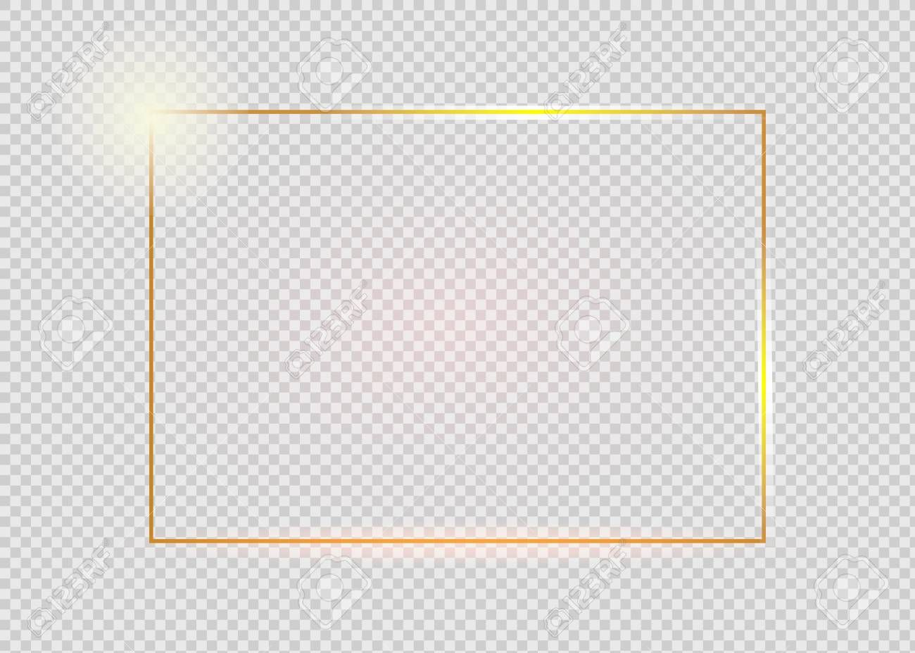 Gold Shiny Glowing Vintage Frame With Shadows Isolated On Transparent Background Golden Luxury Realistic Recta Vintage Frames Transparent Background Rectangle