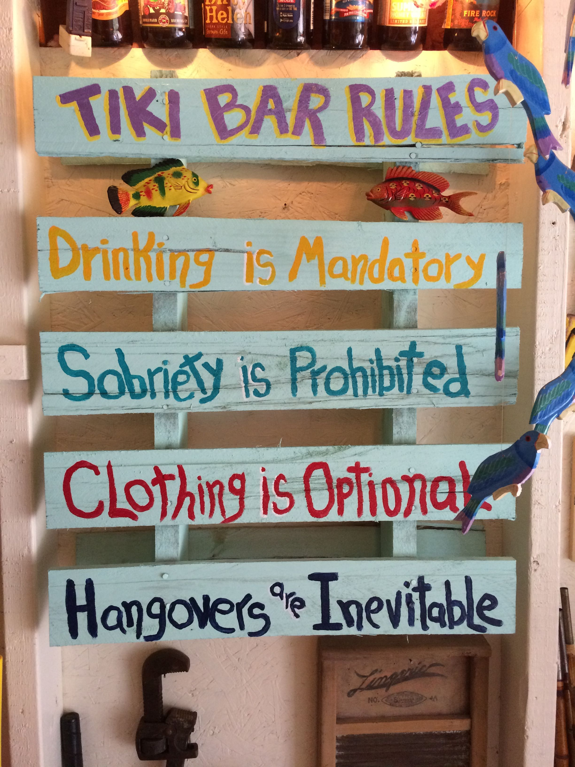 New sign in the tiki bar | Tiki bar | Pinterest | Tiki bars, Bar and ...