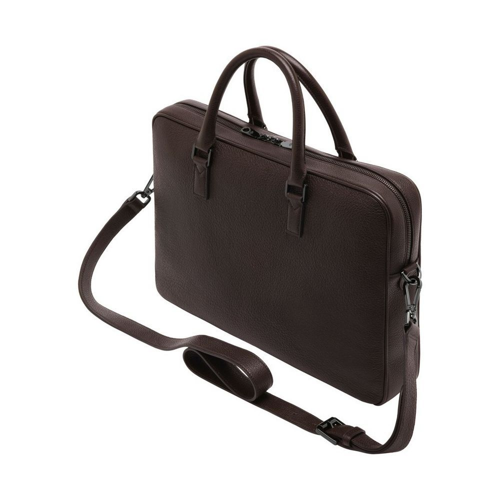 a872d3ef8b Theo Day Document Case in Chocolate Small Classic Grain | Men ...