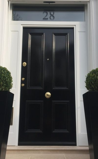 Victorian front door in glossy black with white surrounds and ...