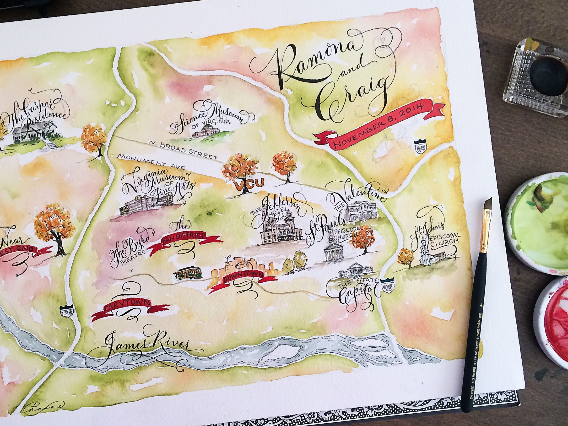 Water Colored Wedding Map By E Danae Wedding Map Watercolor Map
