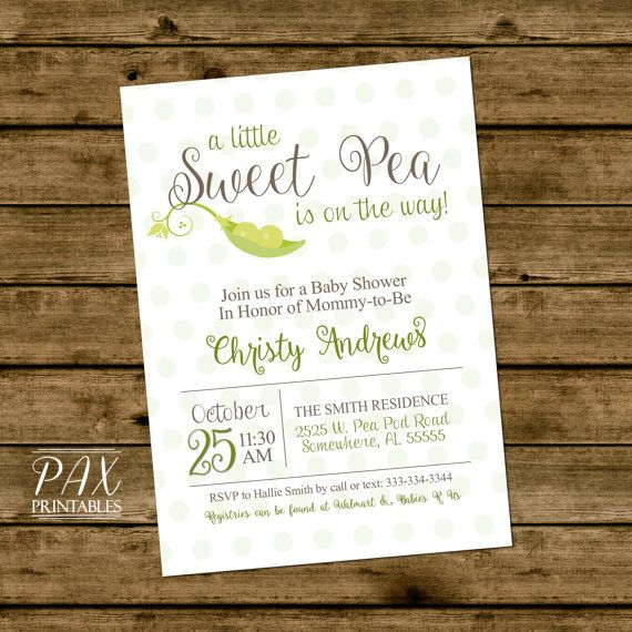 Baby Shower Sweet Pea Invitation Printable Pod Invites Gender Reveal Perfect For Twins Or Triplets Any Event
