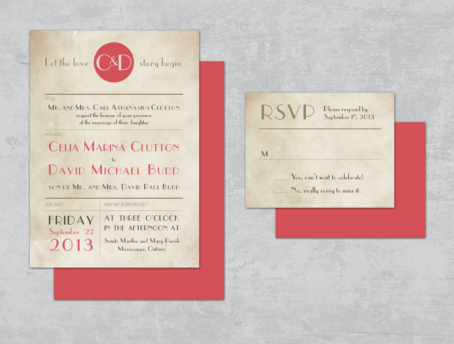 DIY wedding invitation Vintage Library Card Wedding by MadeInBV ...