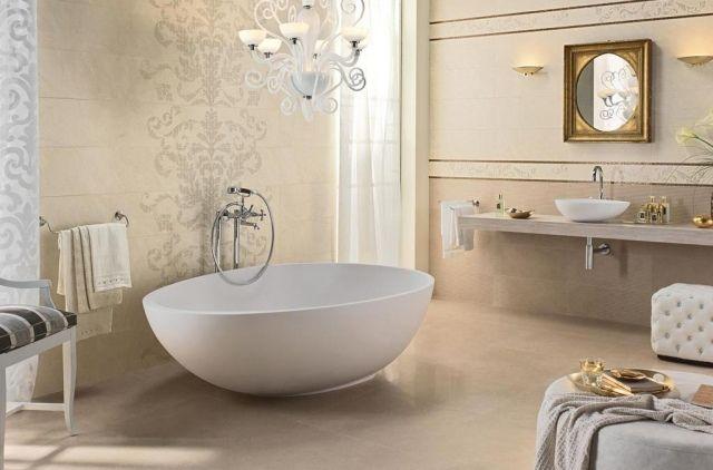 Luxus-Wandfliesen brera-beige savana-Naturstein Badezimmer