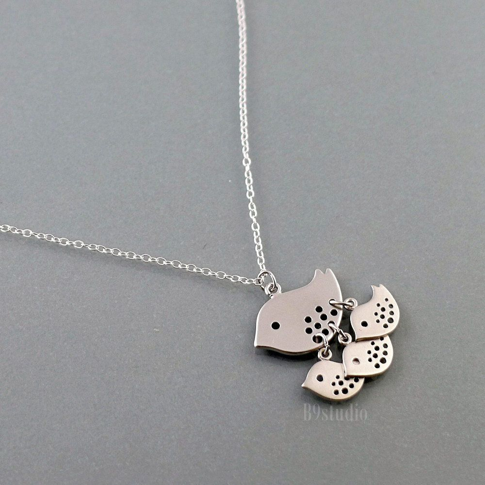 Mother bird Necklace family jewelry gift sterling by B9studio
