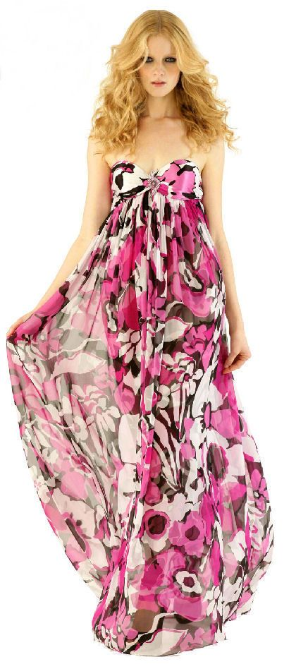 MARC BOUWER GLAMIT Fabulous Floral Print Silk Strapless Evening Gown ...