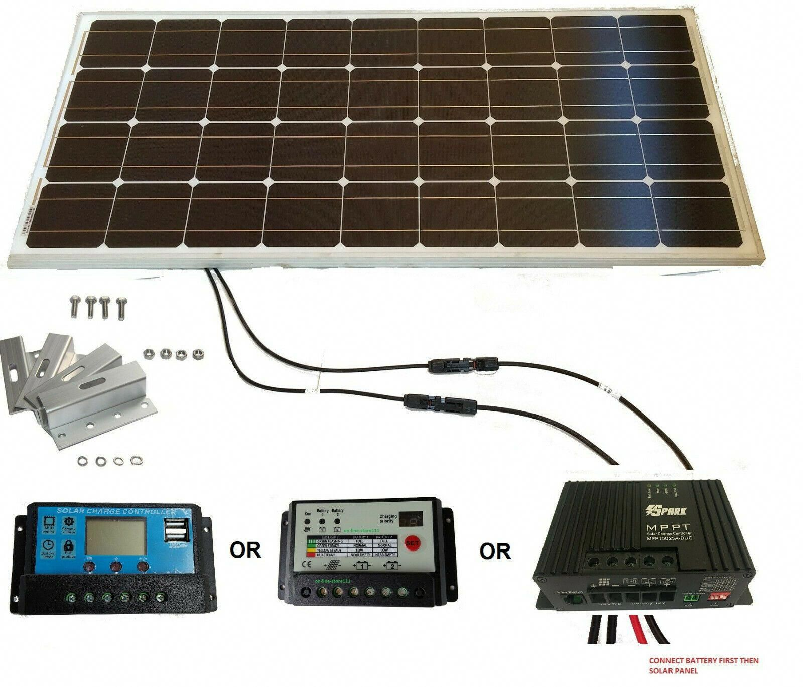 100w 200w Solar Panel Kit 12v Battery Charger 20a Dual Controller Caravan Boat 129 99 Solarpanels S In 2020 Solar Panel Kits Solar Panels Solar Panel Installation
