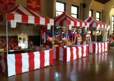 Perfect Make Red/white Stripe Tablecloths: Use White Plastic Tablecloth, Food Stalls
