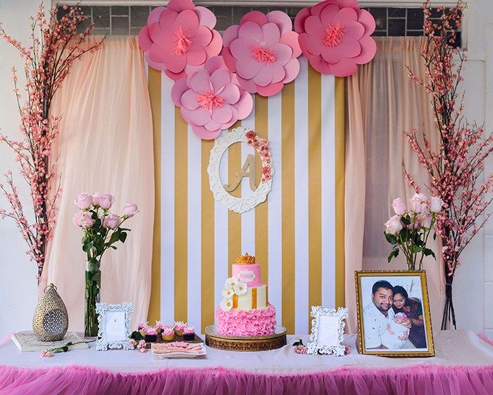 baby welcome party pink paper flowers decor by red entertainment