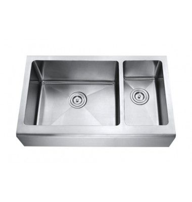 33 Inch Stainless Steel Smooth Flat Front Farm A Kitchen Sink 70 30 Double Bowl
