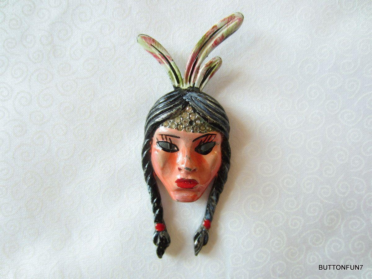 ButtonArtMuseum.com -  Metal Hand Painted Realistic International Lady Decoration