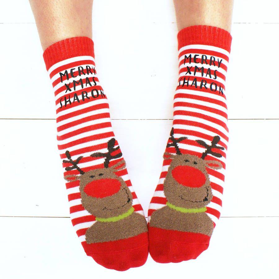 Personalised Reindeer Christmas Slipper Socks   Christmas gift list ...