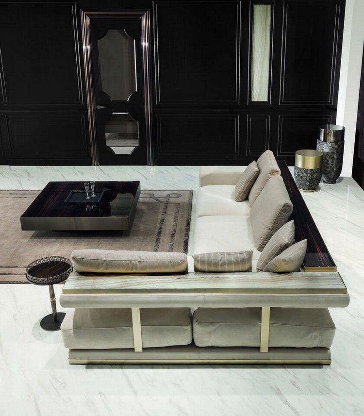 meuble salon design et canapé d'angle gris perle avec rangement en ... - Meuble D Angle Design Salon