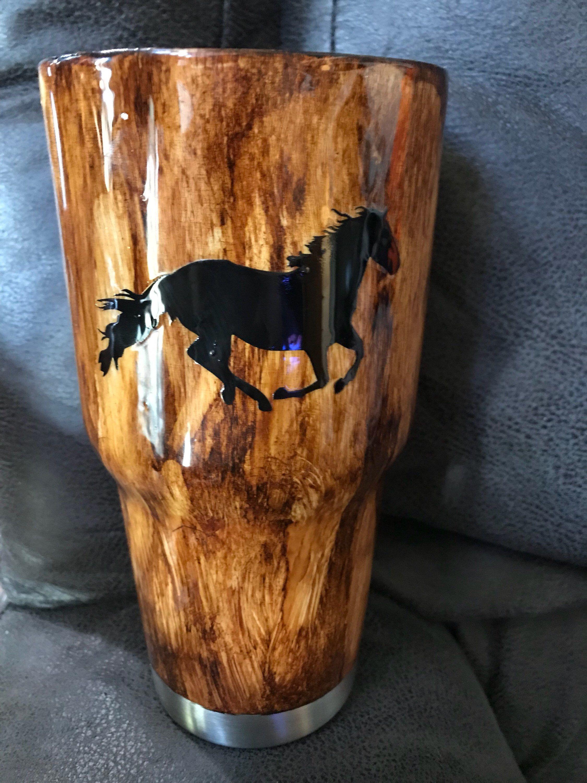 Custom wood grain horse tumbler diy tumblers tumbler