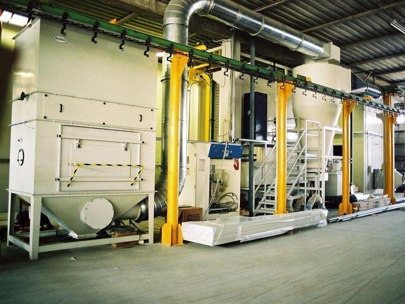 Impianto automatizzato di verniciatura a polveri catena for Planimetrie della cabina di log
