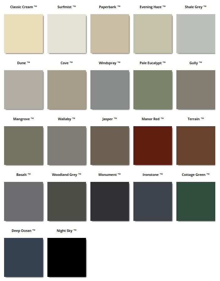 Awesome Colour Range Available For The Corrugated Iron Sheets Pick Your Favourite Colour From This Convenient Colour Chart Roof Colors Iron Sheet Home Reno