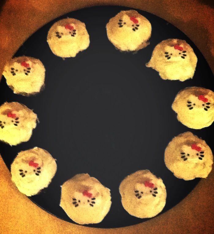 Red velvet Hello Kitty cupcakes I made :)