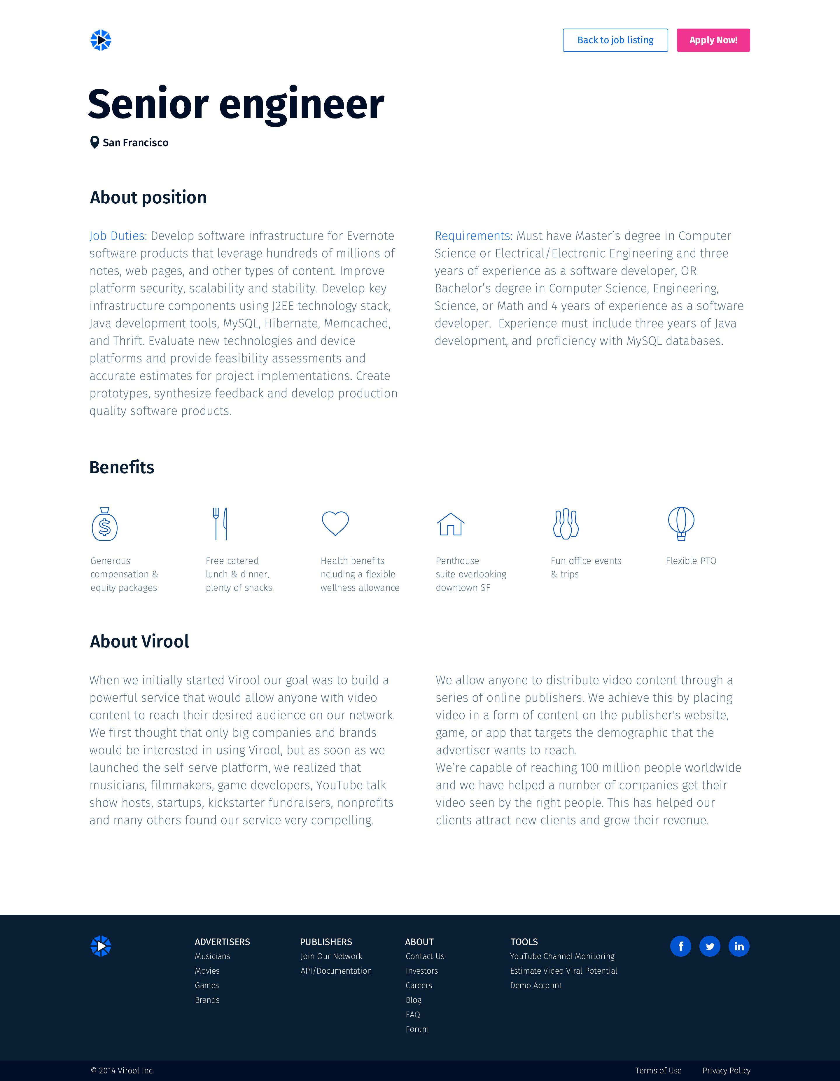 Job description page concept with images job