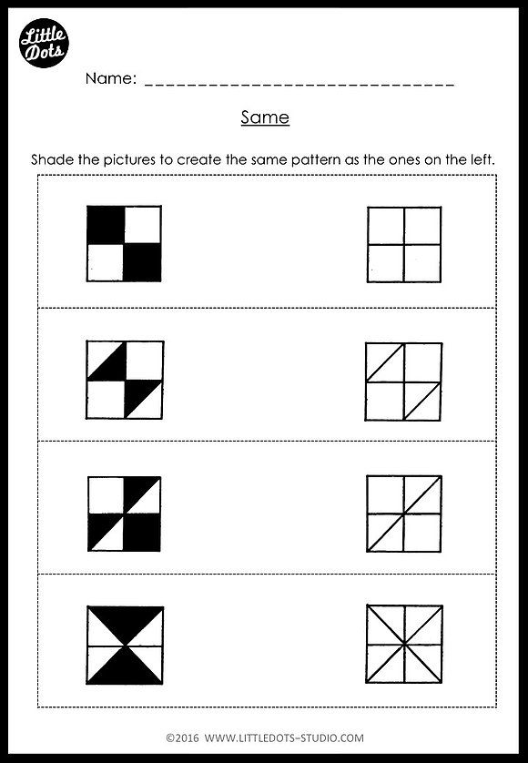Download same and different worksheets suitable for kindergarten ...