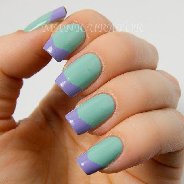 chevron tips nail art two color