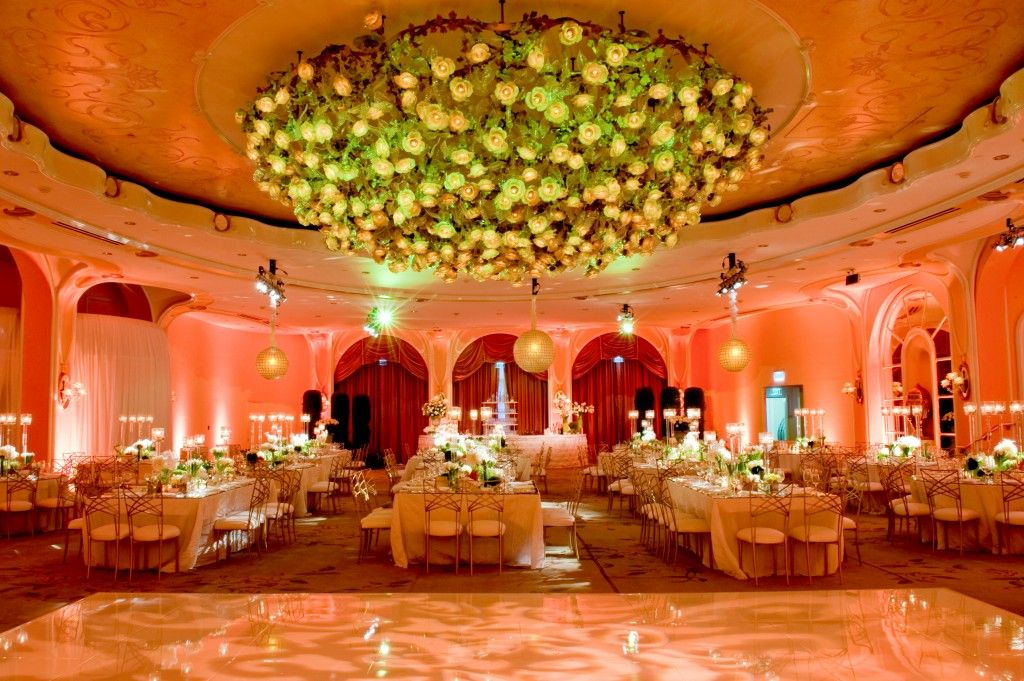 Beautiful Beverly Hills Hotel Ballroom Wedding With Modern Green And White Details