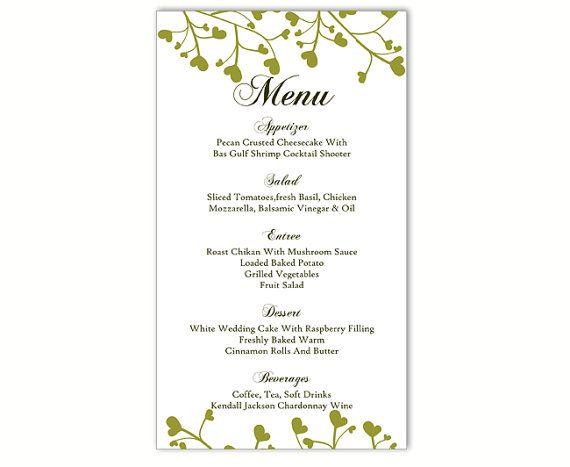 wedding bar menu templates free