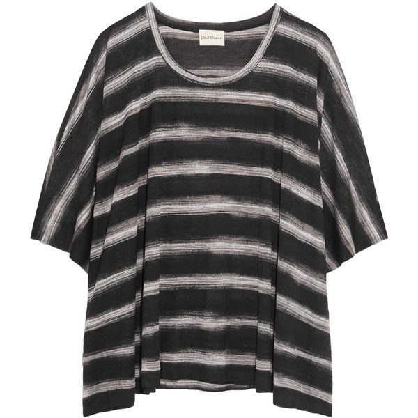 DKNY Oversized striped modal T-shirt (375 MYR) ❤ liked on Polyvore featuring tops, t-shirts, black, oversized striped tee, stripe t shirt, oversized tee, loose fit t shirts and modal t shirts