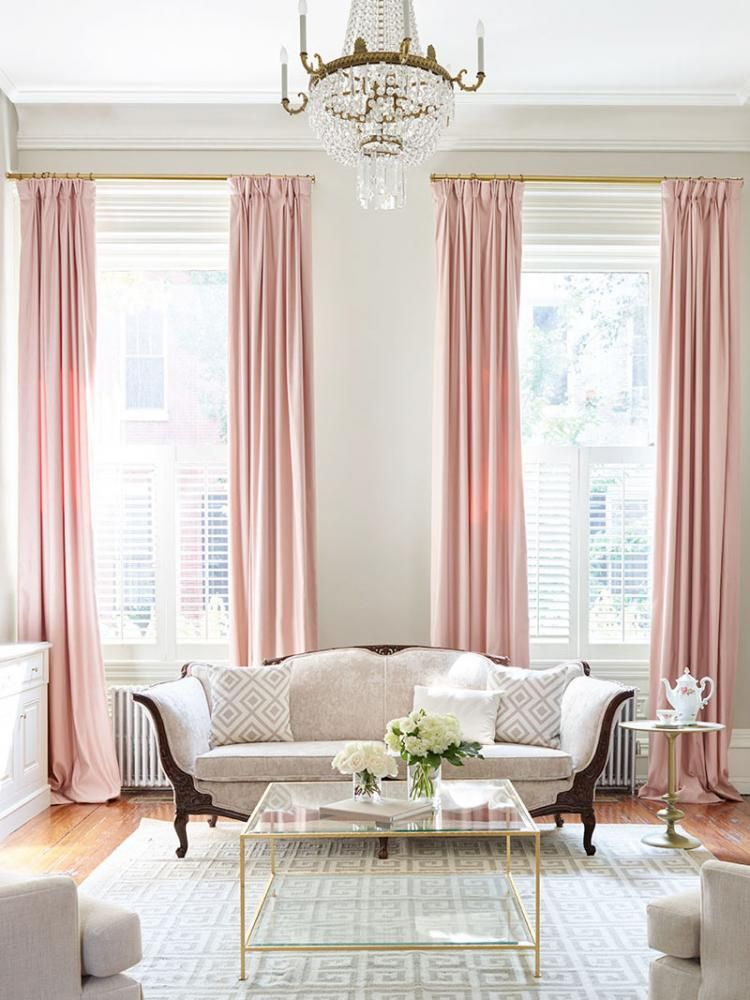 Pastel Colors Design Living Room Pink Curtains