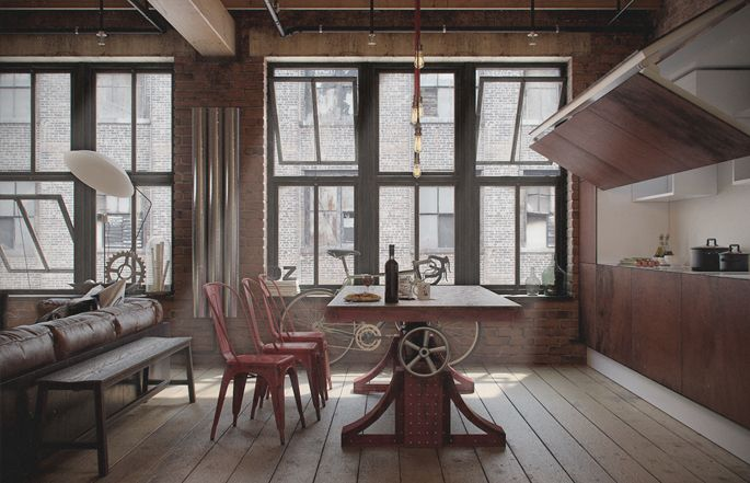 A Loft Apartment Bachelor Pad | Industrial kitchen design, Lofts and ...