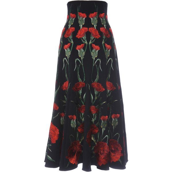 Dolce & Gabbana Stretch Cady Midi Skirt With Carnation Embroidery (204 230 ZAR) ❤ liked on Polyvore featuring skirts, calf length skirts, calf length black skirt, black stretch skirt, high rise skirts and black stretchy skirt