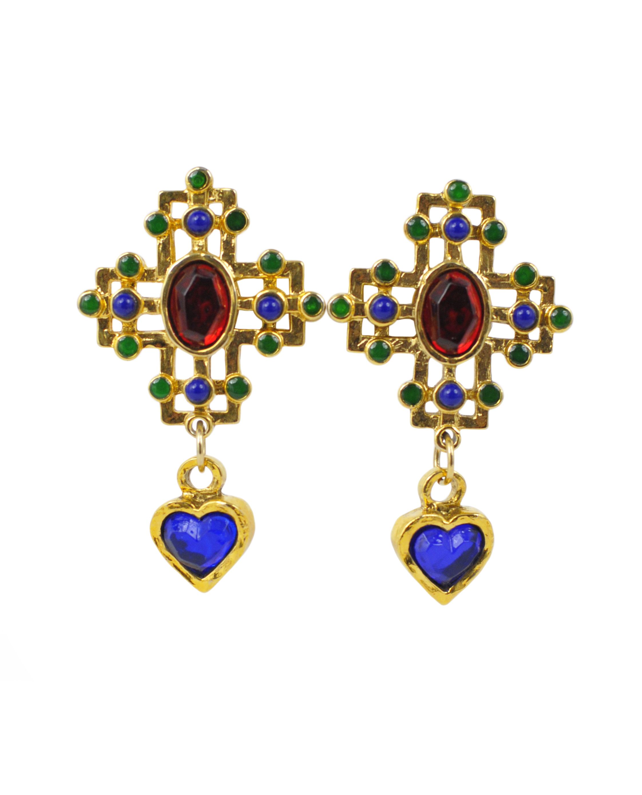 08e155cea86 Vintage Claire Deve Heart & Cross Earrings @ Resurrection Vintage ...
