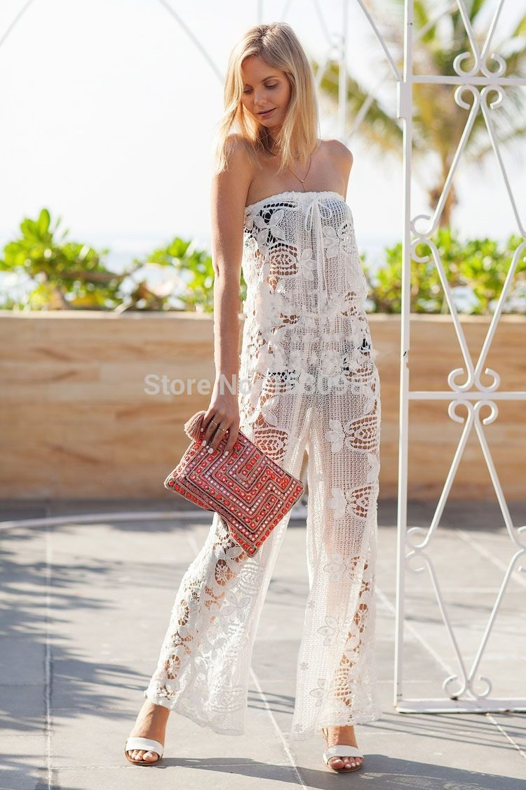 Lace dress cover up   Newest Women Beach Cover Up Sexy White Lace Siamese Pants