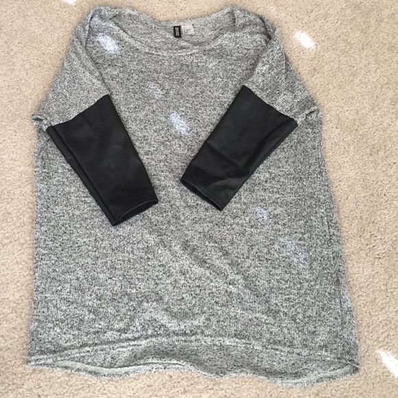 Divided H&M Sweater Marbled black and grey sweater with 3/4 faux leather sleeves. Divided Sweaters Crew & Scoop Necks