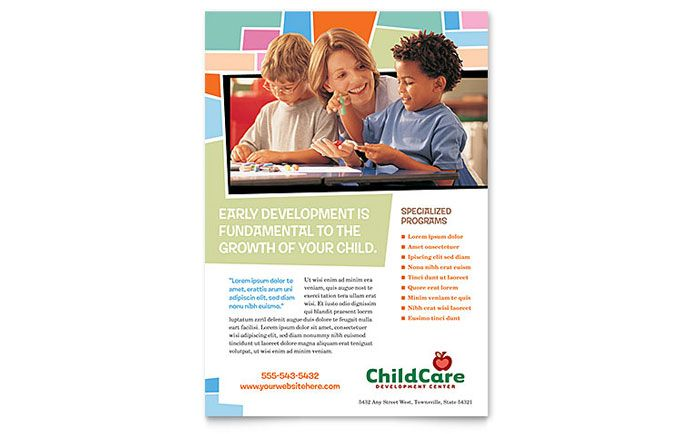 Preschool Kids and Day Care Flyer Template Design by StockLayouts - daycare flyer template