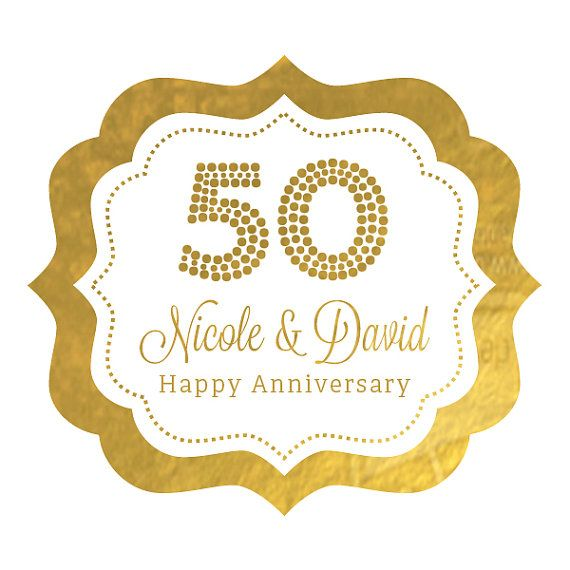 50th Anniversary Stickers Labels With Metallic Gold Foil Are Perfect For An Wedding  Anniversary Party OR