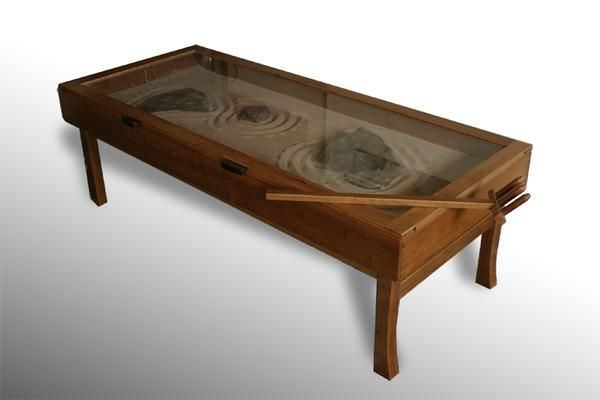 Zen garden coffee table home living room pinterest for Table zen garden