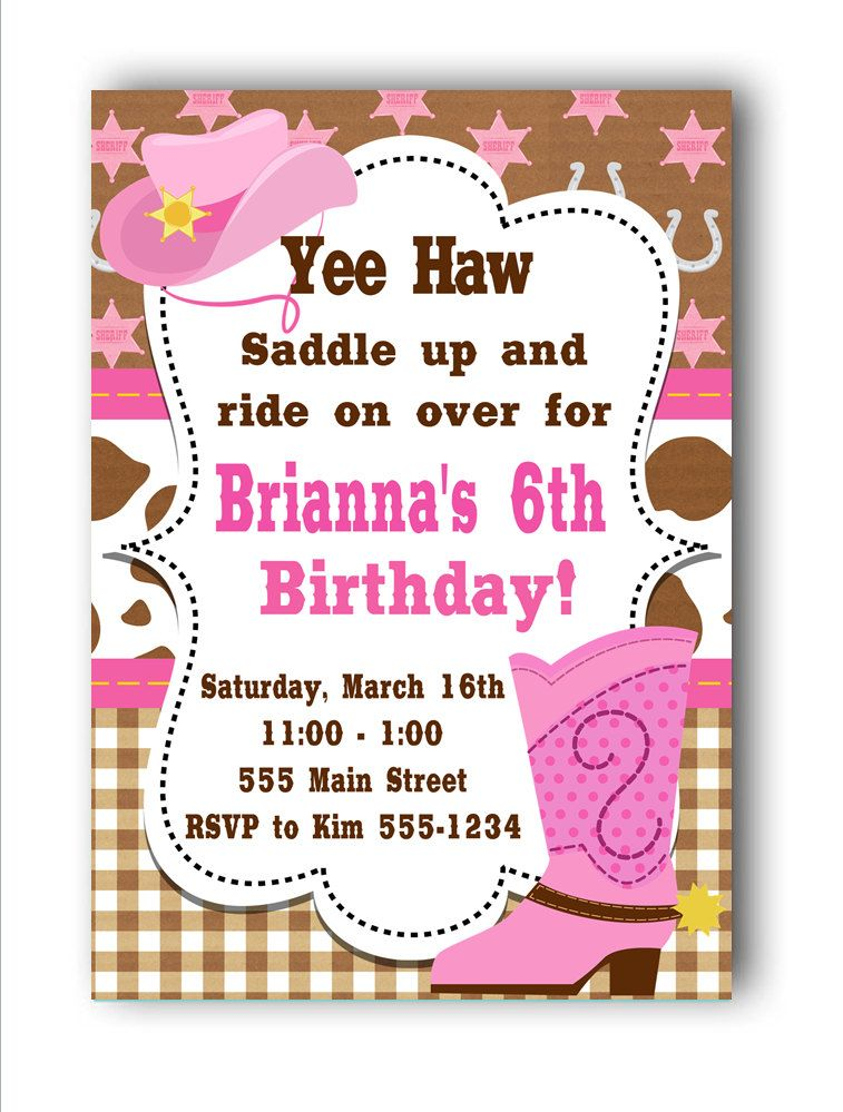 Cowgirl Birthday Invitations by PartyConfettiDesigns on Etsy8.00 ...
