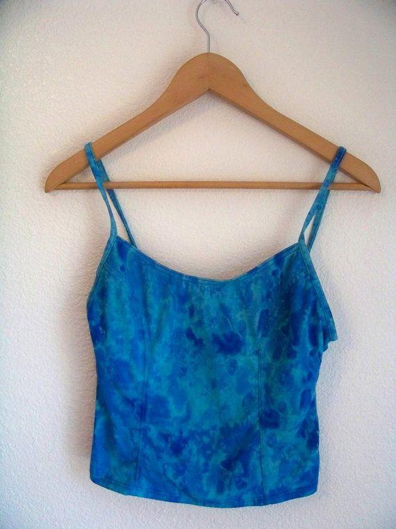 S / M 90's AQUA BLUE WATER Tankini Tank Top Shirt by DaizyLemonade, $28.50