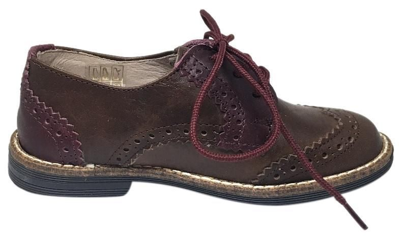 Hoo Shoes Kids Ralphs Smooth Leather Lace Up Platform Tip Oxford Shoe