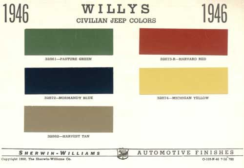 Jeep Willys Color Codes Jeep Willys Willys Jeep