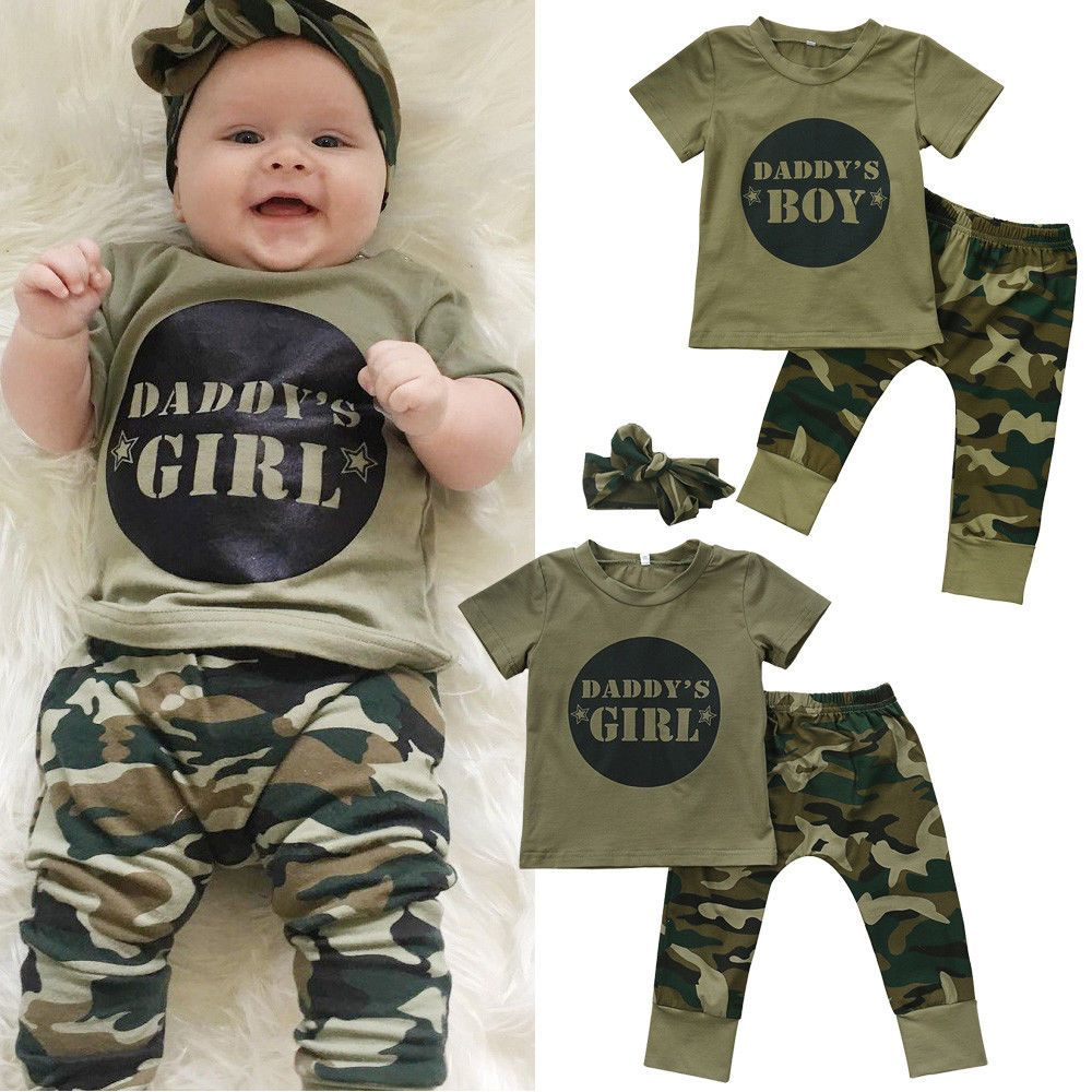 US Toddler Daddy Boy Baby Boys Tops T-shirt Camo Pants 2Pcs Outfits Set Clothes
